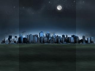 обои Ночьной город в пустыне фото