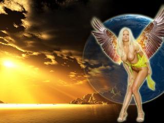 обои Блондинка ангел фото