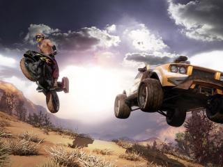 обои Мотоцикл и джип в прыжке фото