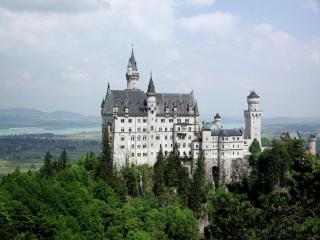 обои Белый замок на фоне леса фото
