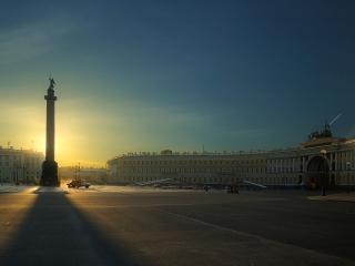 обои Дворцовая площадь на закате фото