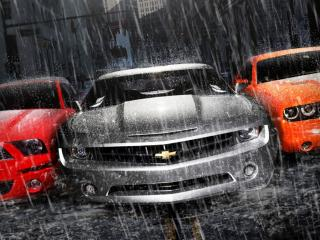 обои Три авто под дождем фото