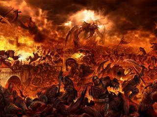 обои Битва людей и демонов фото