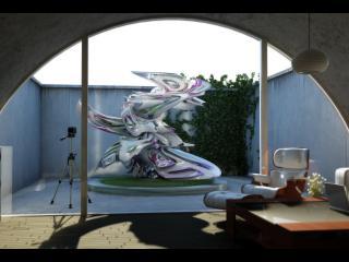 обои Металлическая фигура во внутреннем дворе фото