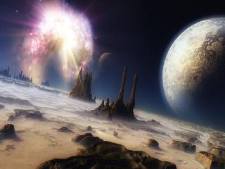 обои Сияние в небе,   над планетой фото
