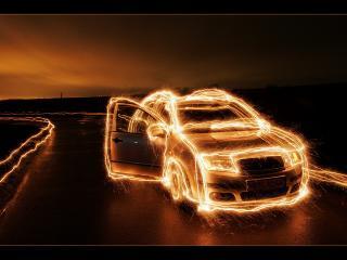 обои Машина в огне фото