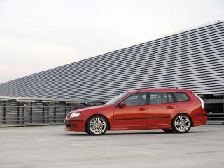 обои Saab 9-3 SportCombi Aero Performance by Hirsch красный фото