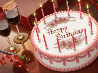 обои Праздничный торт со свечками фото