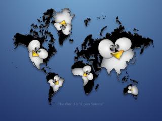обои Карта мира и пингвины фото