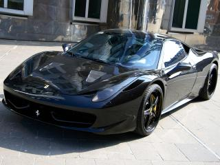 обои Anderson Germany Ferrari 458 Italia Black Carbon Edition боком фото