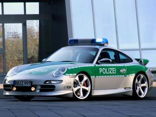 обои TechArt Porsche 911 Carrera S Police Car (997) боком фото
