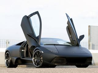 обои Unicate Lamborghini Murcielago LP 640 Yeniceri Edition черная с открытыми дверями фото
