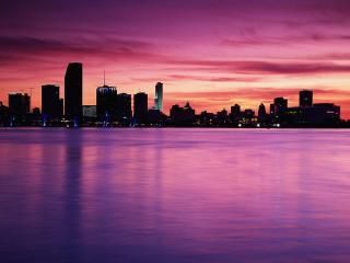 обои Ночной город залив небо фото