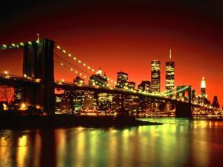 обои Ночь мост вид города фото