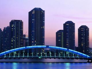 обои Вид города и моста с океана фото