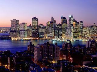 обои Ночная иллюминация города небоскребов фото