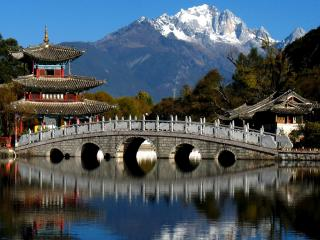 обои Озеро и мост, Китай фото