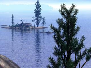обои 3D пейзаж,   ёлки на озере фото