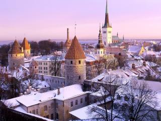 обои Первый снег украсил старинный город Таллин фото