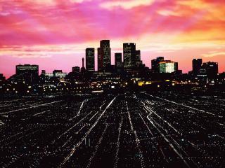 обои Одноэтажная Америка на фоне небоскребов фото