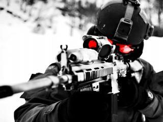 обои Снайпер зима война фото