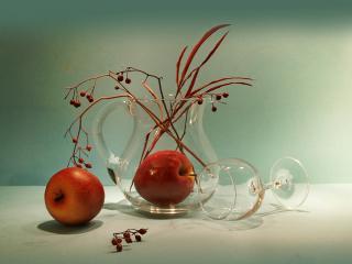 обои Натюрморт два яблока фото