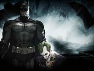 обои Бетмен и поверженный джокер фото