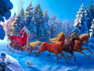 обои Дед мороз на резвой тройке фото