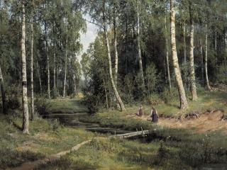обои Иван Шишкин - Ручей в берёзовом лесу фото