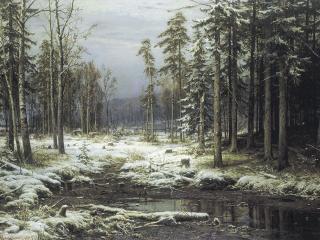 обои Иван Шишкин - Первый снег фото
