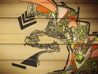 обои Graffiti на деревянной стенке фото