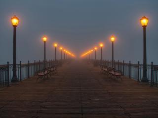обои Причал,   фонари в тумане фото