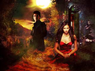 обои Дневники вампира Елена и Деймон фото