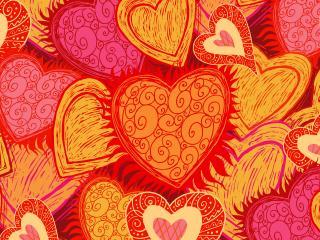 обои Сердца оранжевые фото