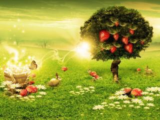 обои Дерево с клубникой в необычном мире фото
