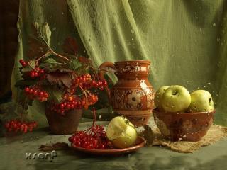 обои Натюрморт - Осенний, из яблок и рябины фото