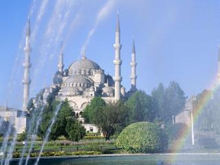 обои Архитектурные сооружения через фонтан в Стамбул фото