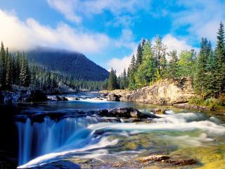 обои Водопад на окраине леса фото