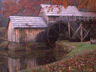 обои Водяная мельница и осень фото