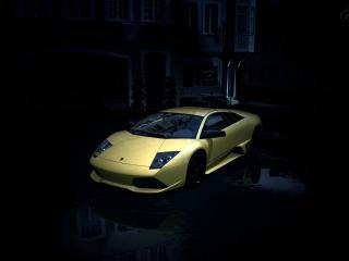 обои Желтая  lp 640 в темноте фото