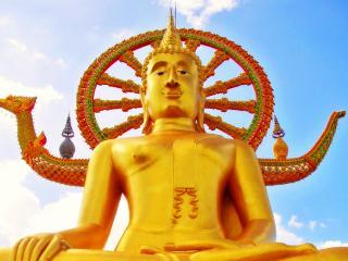 обои Золотой Будда на фоне колеса фото
