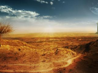 обои Одинокий небоскрёб в пустыне фото