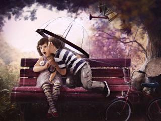 обои Неожиданный поцелуй под дубом фото