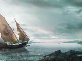обои Парусник в море фото