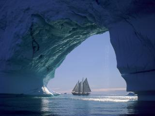 обои Парусник,   айсберг,   море фото
