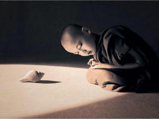 обои Мальчик и морская раковина фото