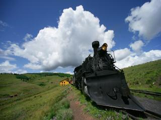 обои Старый локомотив на отшибе фото