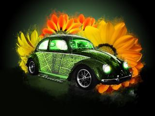 обои Зелёная машина-жук фото