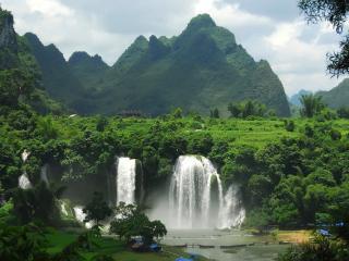 обои Водопад,  тропики,  горы фото