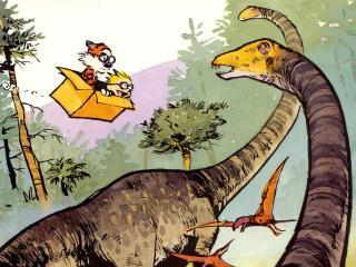 обои Кельвин и Хоббс во времена динозавров фото